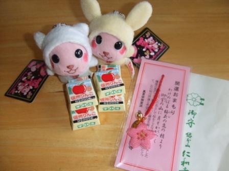 京都土産のお守り&長野土産のチロルチョコ
